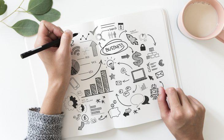 Empresário desenvolvendo um planejemento empresarial