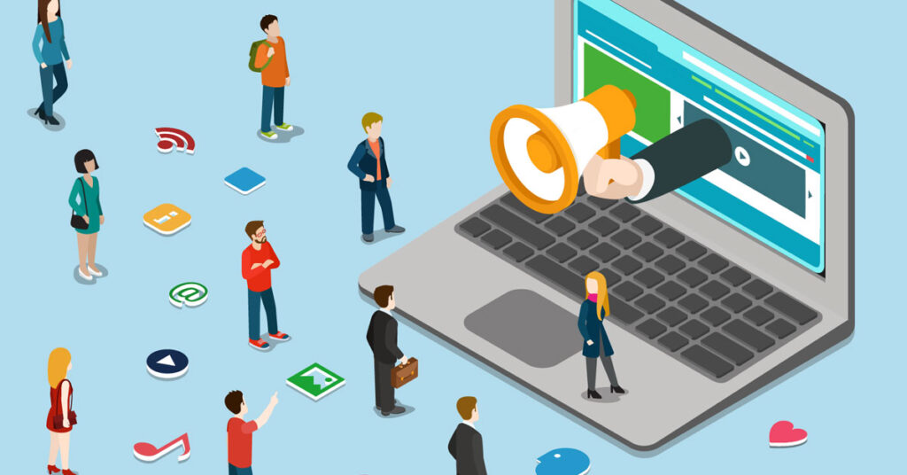 Ilustração de ação de marketing para contabilidade sendo colocada em prática