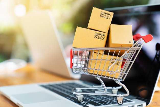Carrinho de compras cheio para simular empresas online